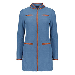 Ladies Zipper Wool Coat Trench Outerwear