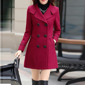 Women's Slim Woolen Jacket Outerwear