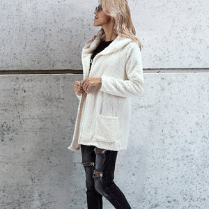 Two-Faced Knit  With Hood Cardigan
