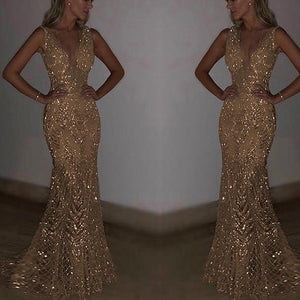 Sexy Sleeveless Deep V Sequined Dress