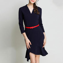 Office V-Neck Mermaid Hem Elegant Dress With Belt