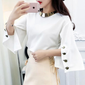 Free Necklace Spilt Sleeves Round Collar T-Shirts