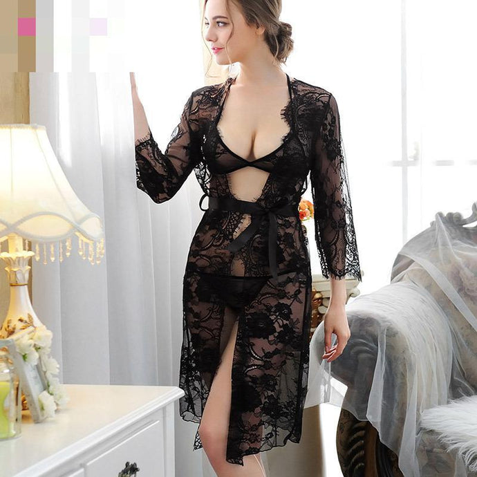 Women Sexy Lingerie Robe Lace Sleepwear
