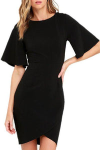 Round Neck Asymmetric Hem Bodycon Dress
