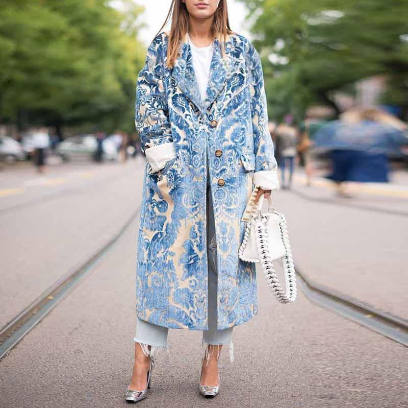 Floral Pattern Printed  Long Sleeve Coat  (Does Not Contain Decorated Pearls )