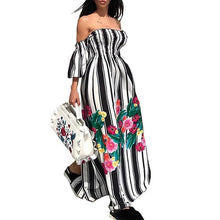 Sexy Slash Neck Printed Floral Split Maxi Dress