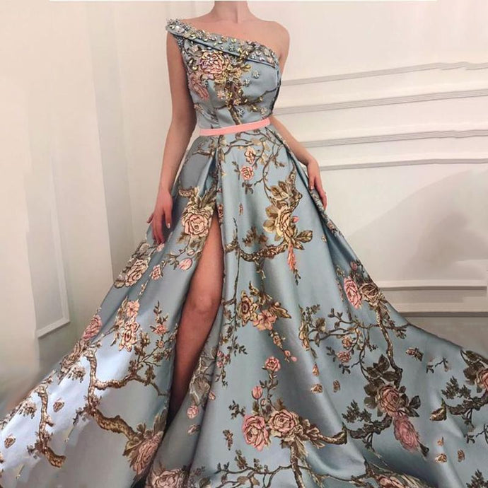 Sexy Elegant Single Shoulder Printing Long Evening Dress