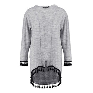 Knit Tassel Side Light Gray Long Cardigan