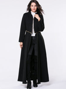 Band Collar  Zips  Snap Front Plain Duster Coat