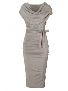 Designed Pleated Cowl Neck Bowknot Plain Bodycon Dress