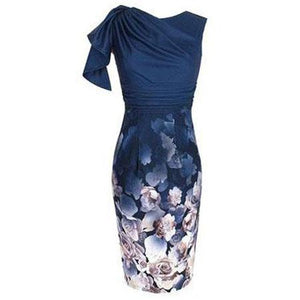 Pleated Captivating Floral Printed Bodycon Dress