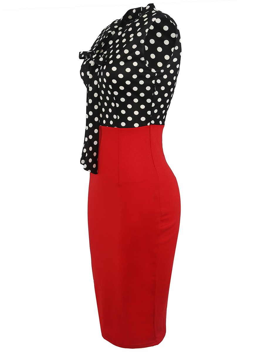 Tie Collar Polka Dot Color Block Bodycon Dress