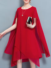 Cape Sleeve Asymmetric Hem Plain Chiffon Maxi Dress