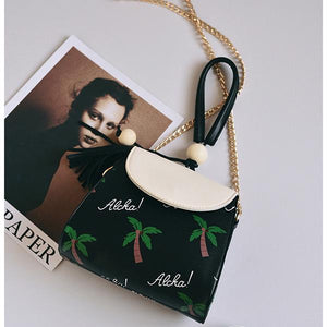 Tropical Coconut Island Tassel Crossbody Bag