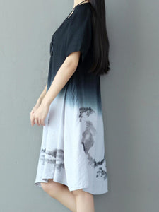 Round Neck  Gradient Loose Maxi Dress