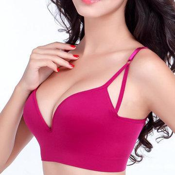 Wireless Seamless Deep V Adjustable Anti Sagging Yoga Bras