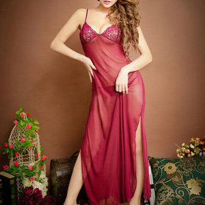 Sexy See-Through Embroidery Mesh Nightwear Long Dress Sleepwear For Woman