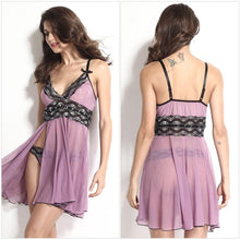 Plus Size Women Violet Sexy Sling V-Neck Sleepwear Lace Split Chiffon Nightdress