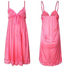 Women Sexy Smooth Spaghetti Strap Sleepwear Lace Deep V Nightdress