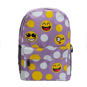 Women Girl Emoji Cute Nylon Backpack Smiley Print Casual Shoulder Bags