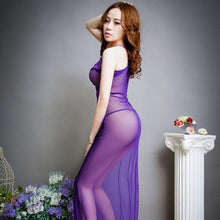 Purple Temptation Sexy See Through Lace Backless Long Dress Nightwear For Women