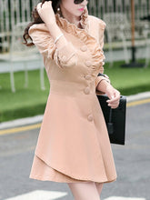High Neck  Ruffle Trim Plain Coat