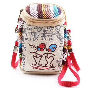 Women Canvas Vintage 5.5 Inches Phone Bag Multifunctional Crossbody Bag Clutch