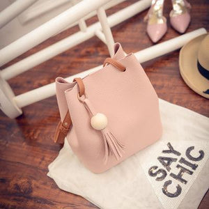 Fashion Solid Tassel Pendant Bucket Casual Bag