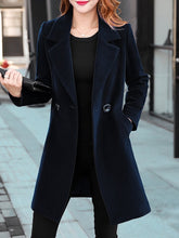 Lapel Longline Plain Pocket Woolen Coat