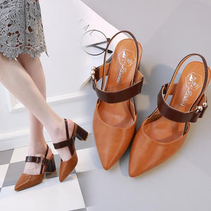 2017 New Arrival Pointed Toe Block Heel Pump Sandals