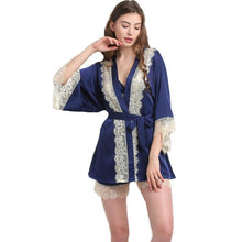 Sexy Women's Lace Satin Pajamas Three Pieces Nightwear Set