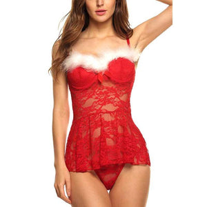 Hot Red Babydoll Chemise Set Fancy Dress Christmas Sexy  Lingerie Sleepwear
