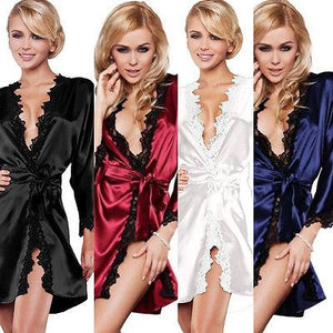 Women Sexy Lace Satin Dressing Gown Long Sleeve Pajamas