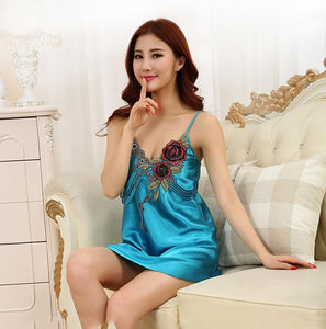 Women Sexy Silk Sleeveless Nightgown