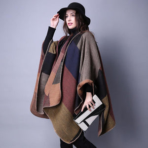 Women's Winter Poncho Vintage Blanket Shawl Cape Cashmere Scarf