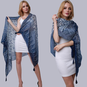 Women Scarf Summer Blue And White Porcelain Print Tassel Wraps