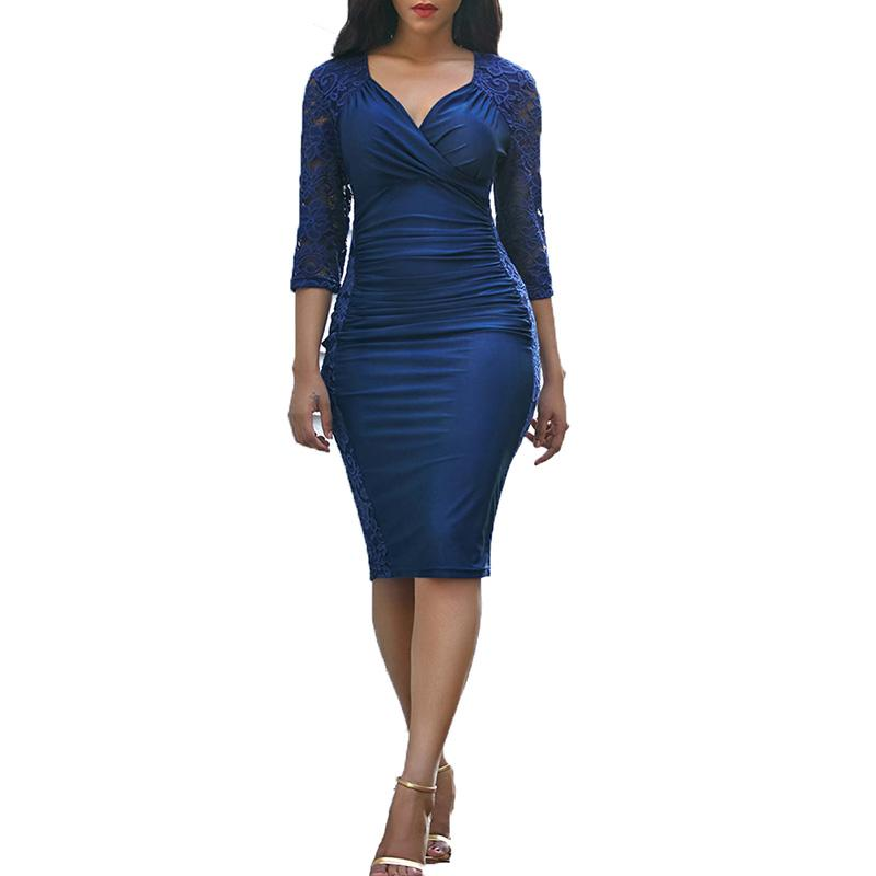 Three Quarter Sleeve Lace Panel Ruched Bodycon Dress