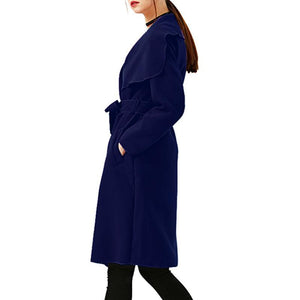 Elegant Long Trench Woolen Coat With Belt Overcoat