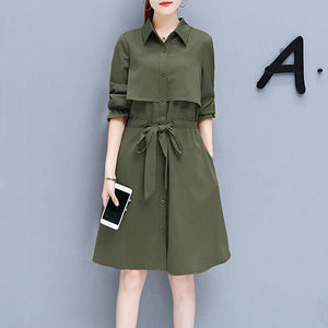 Women's Thin Overcoat With Waist Belt Jacket Coat