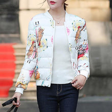 Floral Print Cotton Short Jacket Overcoat
