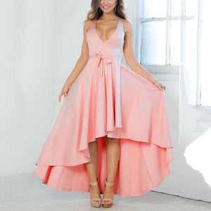 Irregular Sexy Deep V Evening Dress