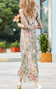 Vacation  Retro Floral Embroidery Long Dress