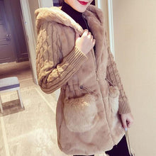 Classic Knit Stitching Plush Thickened Coat