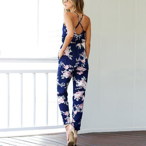 Cross Sling Halter Printed Jumpsuit