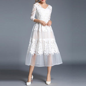 White V-Neck Lace Embroidery Party Dress