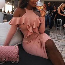 Sexy Off Shoulder Lotus Leaf Stitching Bodycon Dress