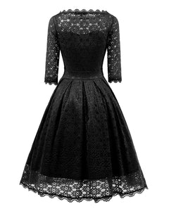 Long-Sleeved Lace Evening Dress