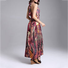 Bohemia Peacock Flowers Milk Silk Vacation Dress