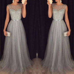 Chiffon Sleeveless Sequined Maxi Evening Dress
