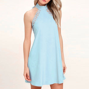 Sleeveless Lace Strap Halter A Line Vacation Mini Dress